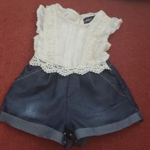 One piece lace and denim baby romper